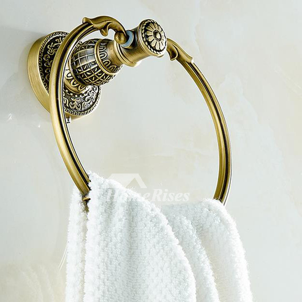 Vintage Gold Antique Brass Towel Ring Bathroom