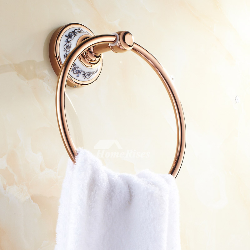 Porcelain Rose Gold Towel Ring Wall Mount