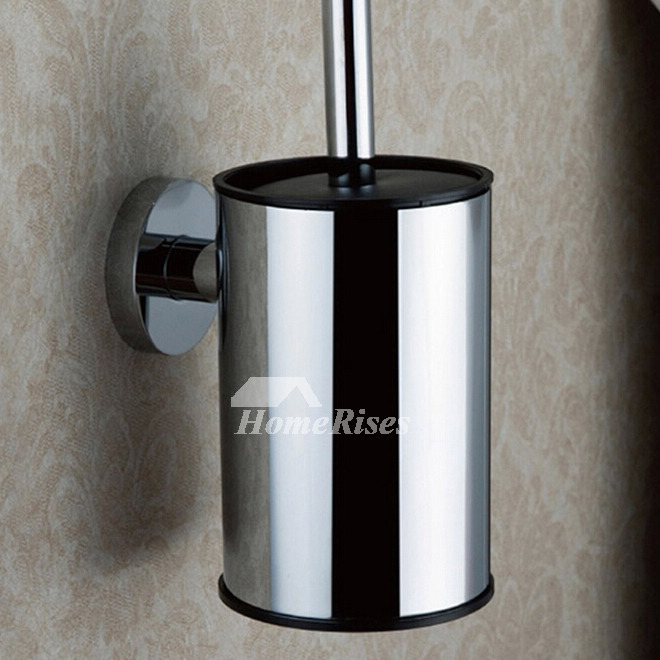 Modern Silver Nickel Brushed Toilet Brush Holder