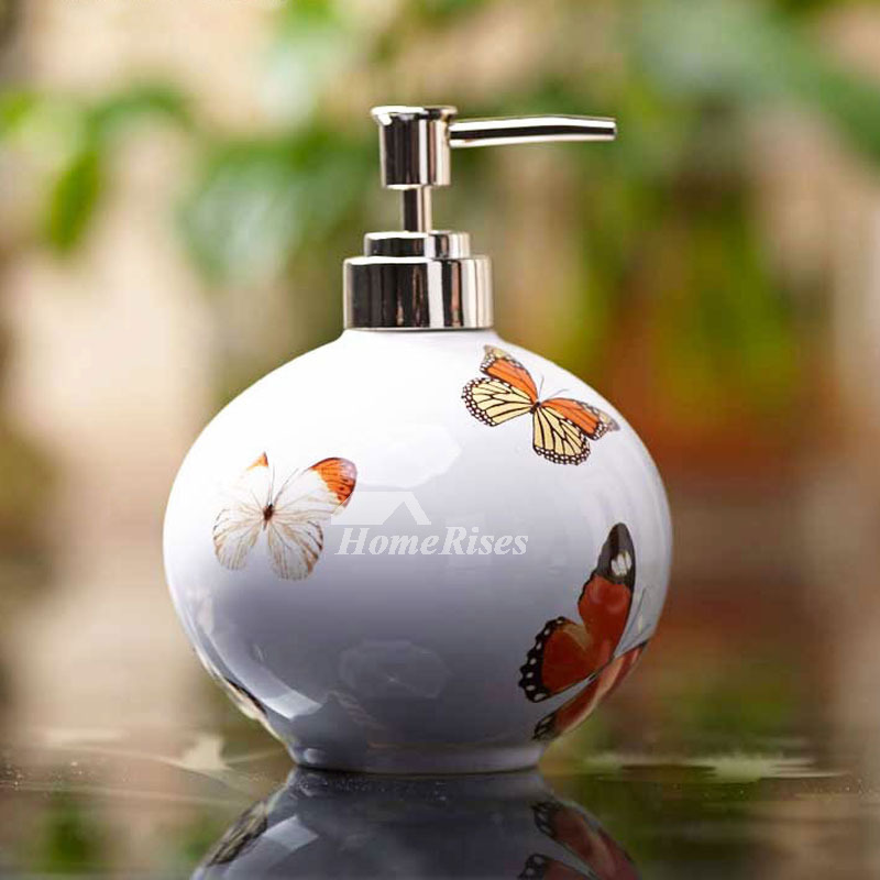 Butterfly Painting Modern Multi Color Ceramic Liquid Soap Dispenser