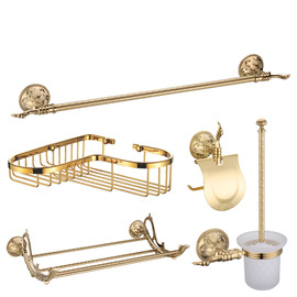Golden Polished Brass Antique Bathroom Accessories Sets