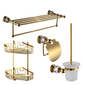 Polished Brass Golden Vintage Bathroom Accessories Sets