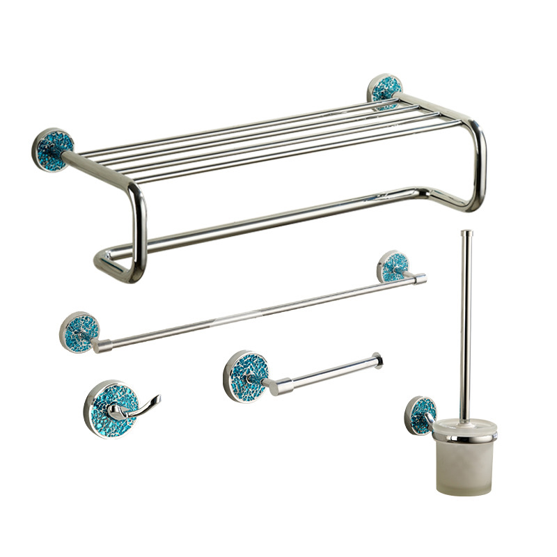 Blue chrome designer bathroom accessories sets for Bathroom accessories for home