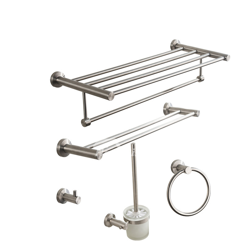 Nickel brushed silver modern bathroom accessories sets for Silver bath accessories set