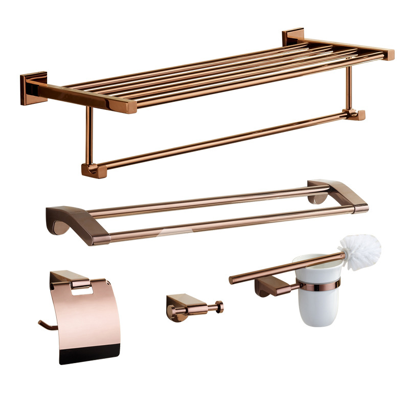 Pink modern rose gold bathroom accessories sets for Pink bathroom accessories sets
