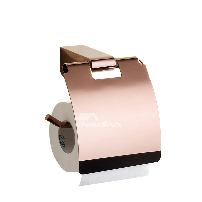 Pink modern rose gold bathroom accessories sets for Pink toilet accessories