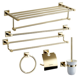 Golden Modern Polished Brass Bathroom Accessories Sets