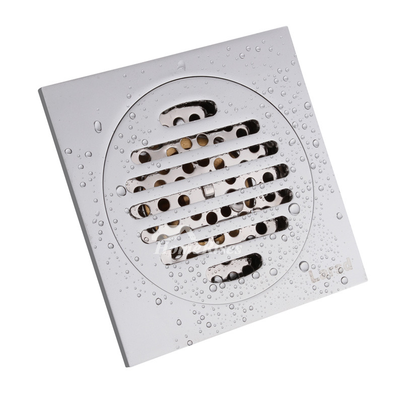 Cheap Deodorant Polished Chrome Square Brass Shower Floor Drain