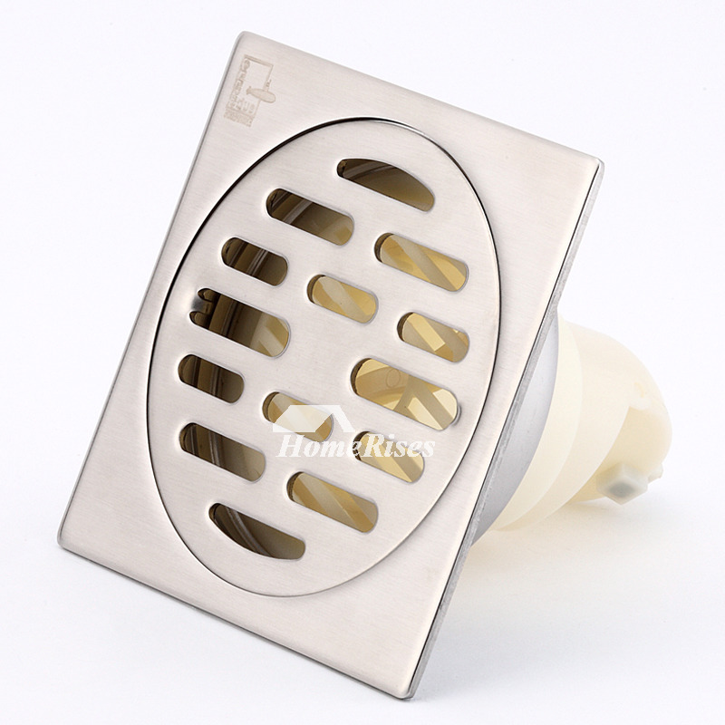 Cheap Matte Silver Delicate Brushed Brass Square Shower Floor Drain