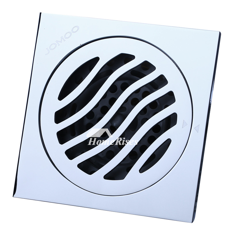 Cheap Deodorant Brushed Chrome Brass Square Shower Floor Drain