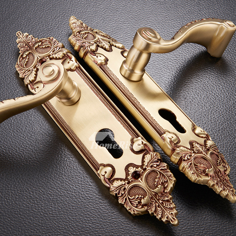 High End Carved Antique Brass Bedroom Solid Wood Door Lock