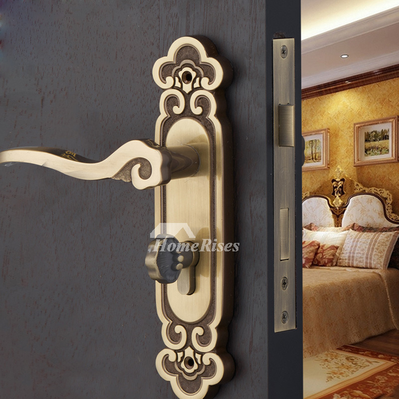 High end polished brass rose gold antique bronze bedroom - Door handles with locks for bedrooms ...