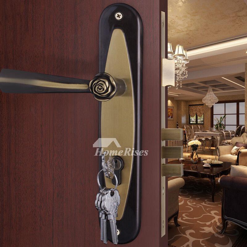 simple modern black rose antique brass bedroom door lock
