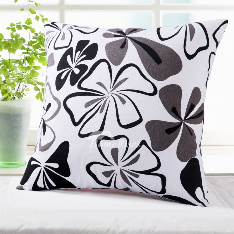 Floral Couch Square Cotton Black And White Throw Pillows
