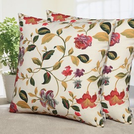 Colorful Plant Flowers Square Throw Pillows For Couch Two Sell Together