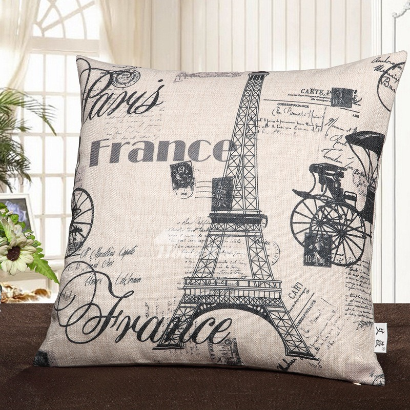 Unique Monogrammed Couch Square Eiffel Tower Gray And White Throw Pillows