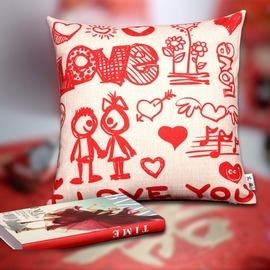 Cute Cartoon Monogrammed Couch Square Red Throw Pillows