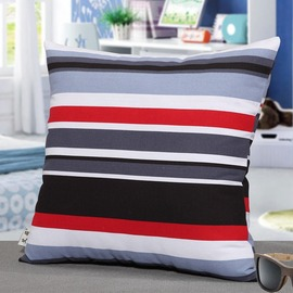 Colorful Striped Canvas Square Throw Pillows For Couch