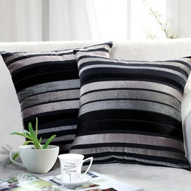 Country Striped Couch Cotton Black And White Throw Pillows
