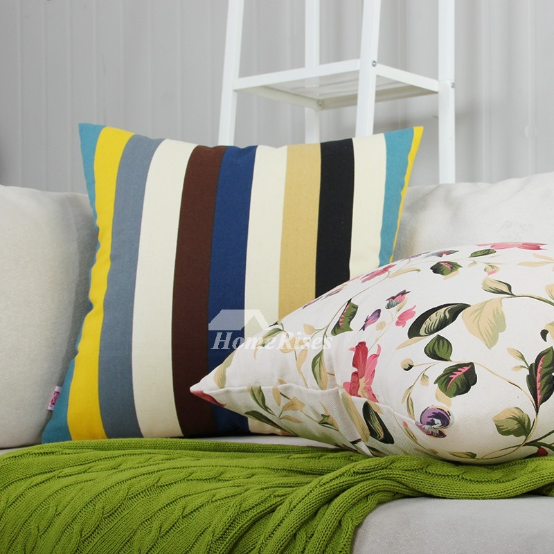Inexpensive Throw Pillows For Couch : Natural Colorful Striped Couch Square Cheap Throw Pillows