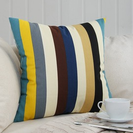 Natural Colorful Striped Couch Square Cheap Throw Pillows