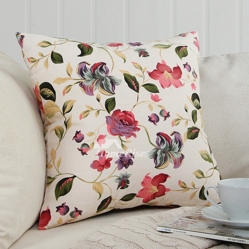 Couch Square Canvas Warmth Floral Throw Pillows