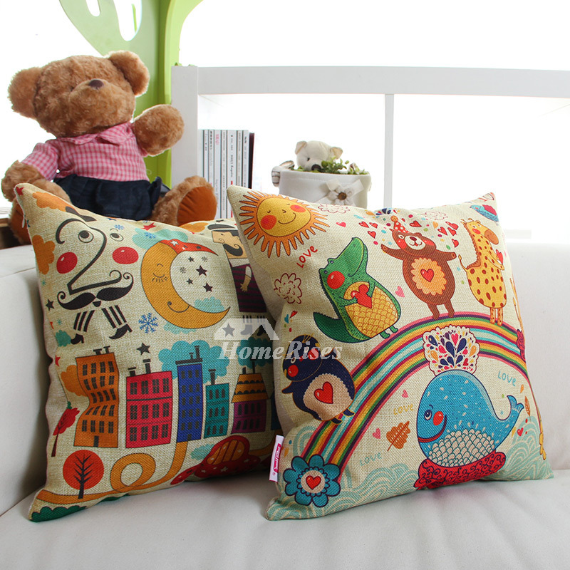 Cute Neutral Throw Pillows : Couch Canvas Square Cartoon Cute Throw Pillows