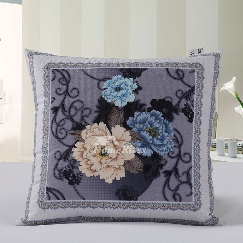 Country Gray Couch Square Floral Throw Pillows