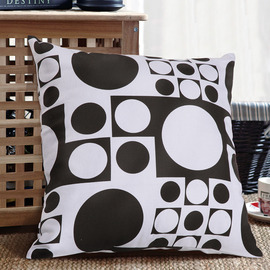 Modern Geometrical Couch Black And White Throw Pillows