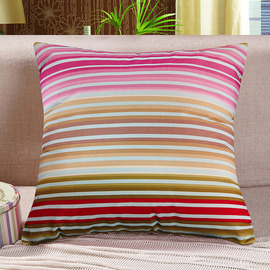 Striped Colorful Country Polyester Fiber Square Throw Pillows