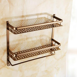Designer Brown Antique Bronze Bathroom Shelves