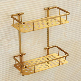 Golden Vintage Brushed Bathroom Shelves