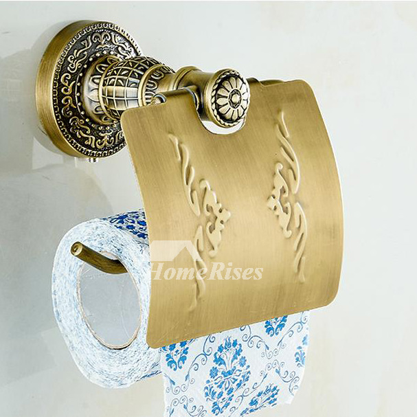 Brown Designer Antique Brass Toilet Paper Holder
