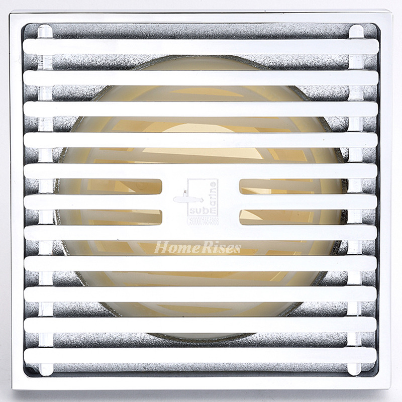 Qst-50 Automatic Sealing Chrome Silver Brass Square Shower Floor Drain