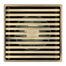 Qst-40 Deodorant Brushed Antique Brass Square Shower Floor Drain