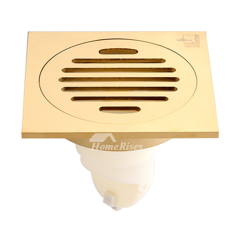 Qst-50 Deodorant Polished Brass Square Shower Floor Drain