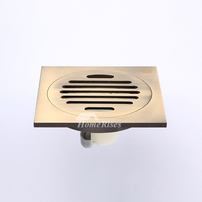 Qst-40 Deodorant Brushed Brass Square Shower Floor Drain