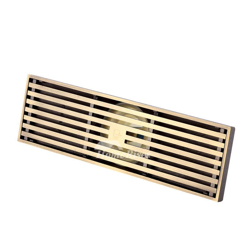 Qst-50 Automatic Sealing Brushed Brass Linear Shower Floor Drain