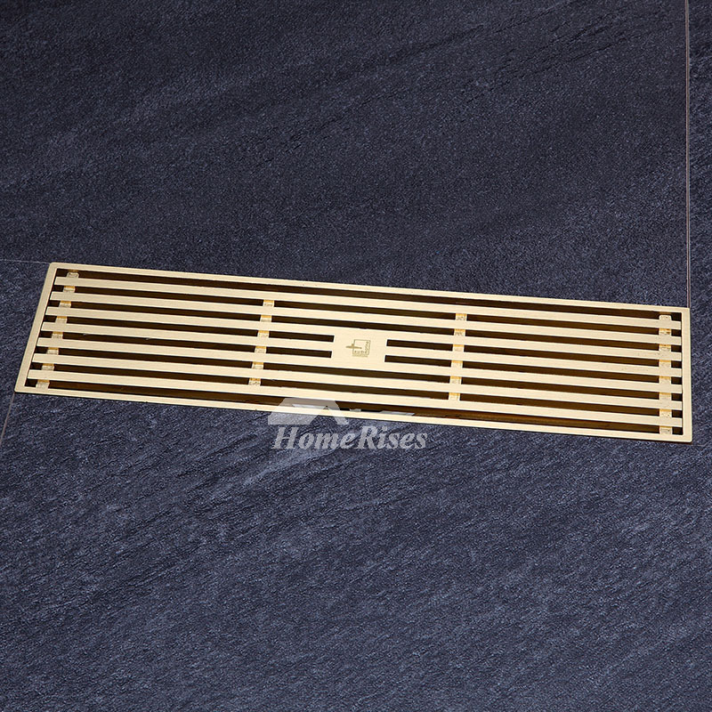 Qst-50 Deodorant Gold Brushed Brass Linear Shower Floor Drain