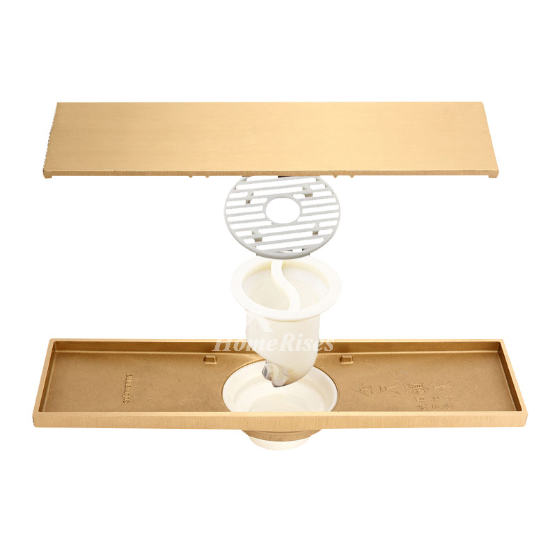 Qst-50 Deodorant Gold brick Brushed Brass Linear Shower Floor Drain