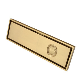 Qst-50 Rich Flowers Gold Brushed Brass Linear Shower Floor Drain