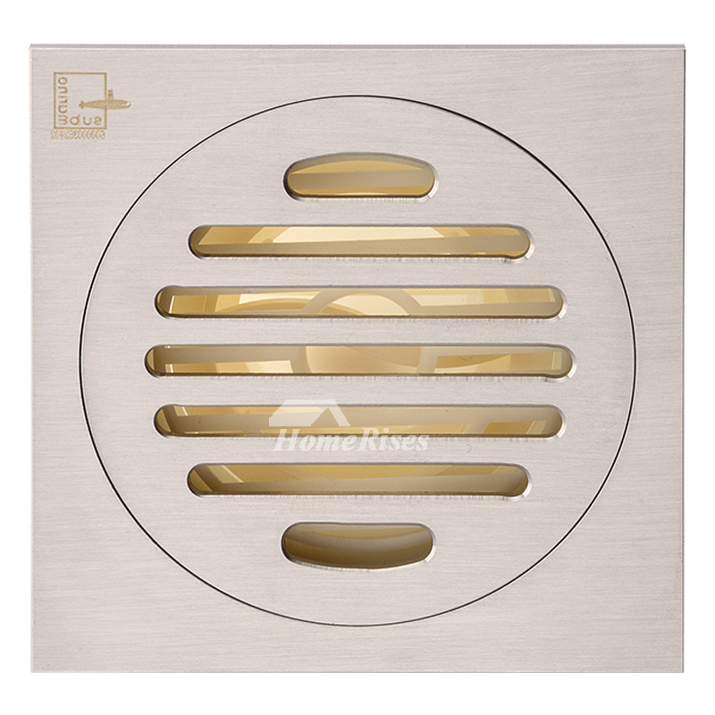 Qst-50 Modern Matte Silver Brushed Brass Square Shower Floor Drain