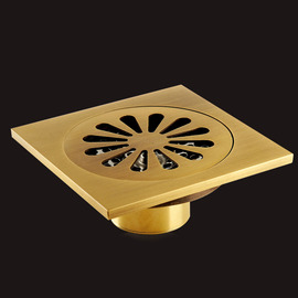 ASTM Gold Brushed Brass Deodorant Square Shower Drain