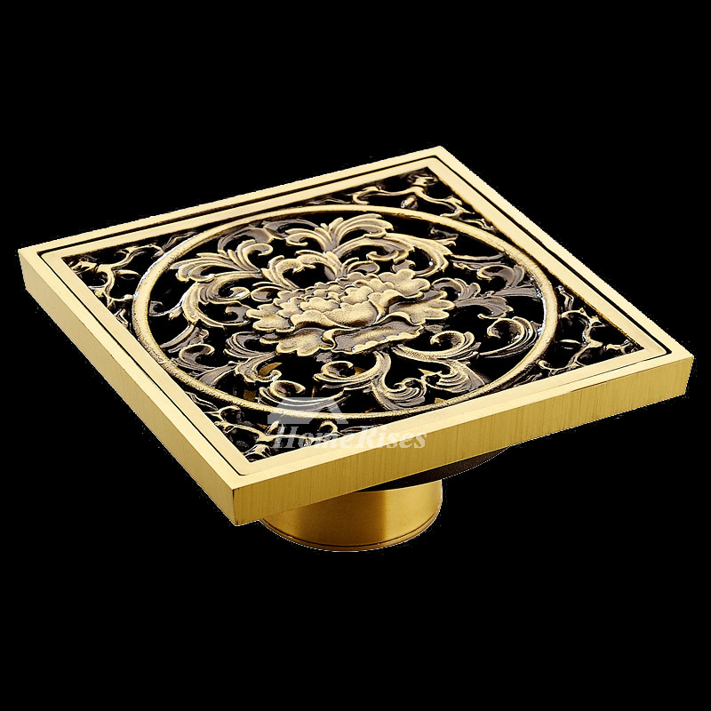 ASTM Antique Flowers Brushed Brass Deodorant Square Shower Drain