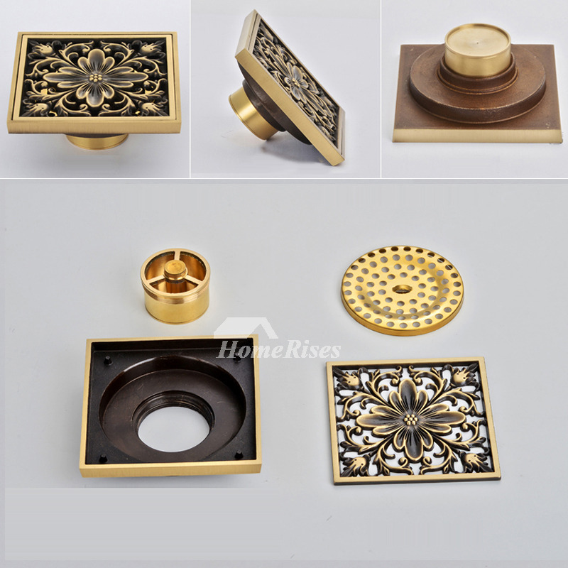 ASTM Rich Flowers Brushed Brass Deodorant Square Shower Drain