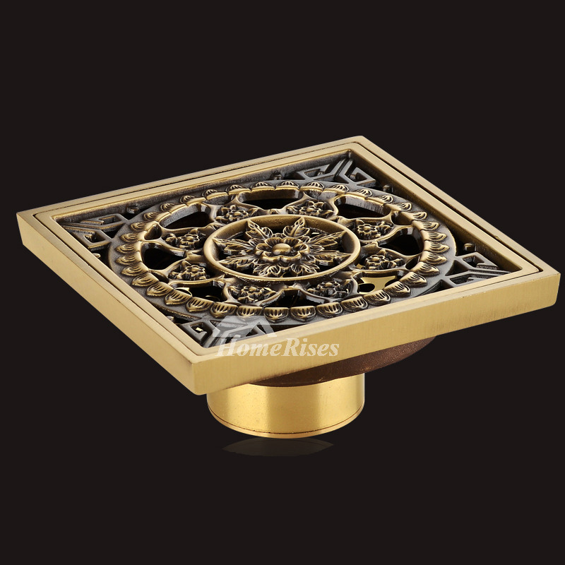 ASTM High End Flower Brushed Brass Deodorant Square Shower Drain