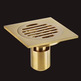 ASTM Deep Water Brushed Brass Square Shower Floor Drain