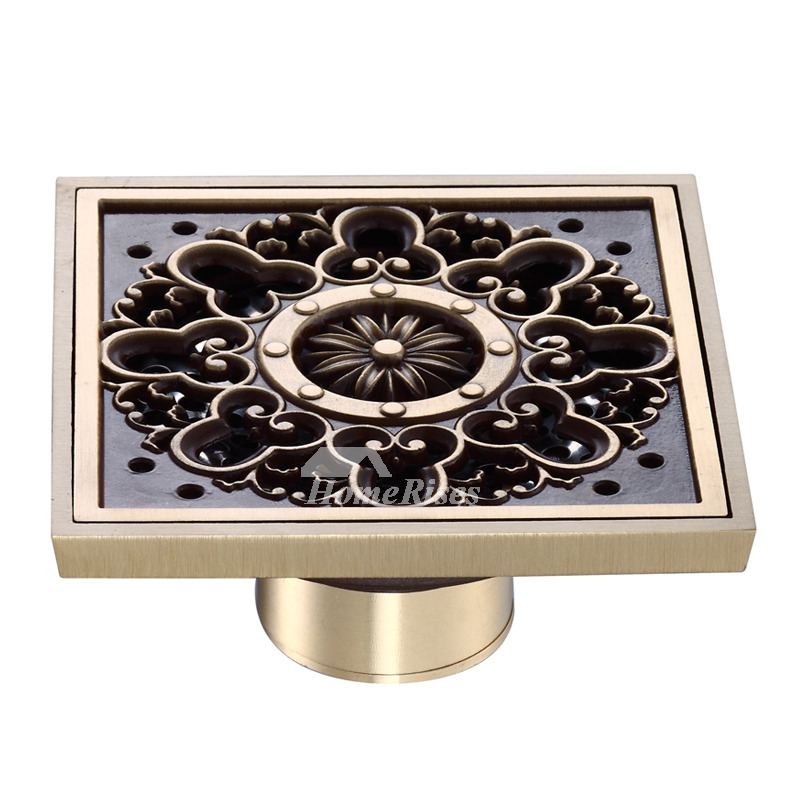 Ke-50 Art Antique Brass Deodorant Square Shower Floor Drain