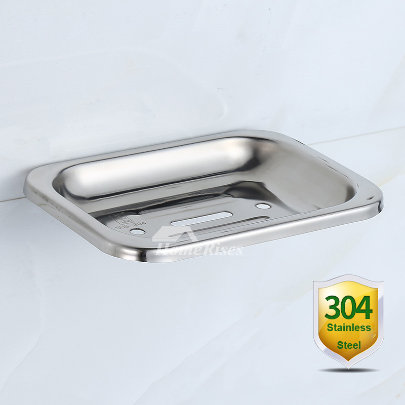 ZS Polished 304 Stainless Steel Wall Mounted Draining Soap Dish