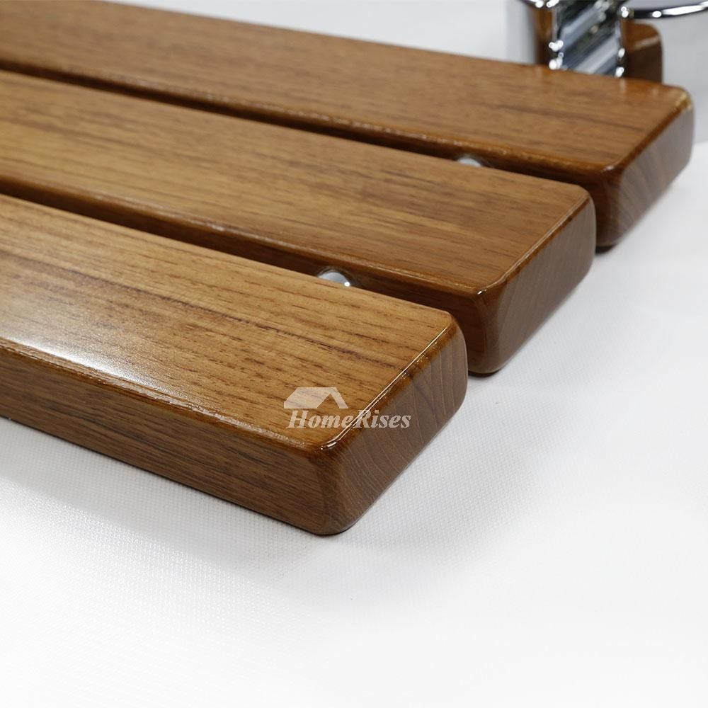 Dpxe Teak Wood Wall Mounted Folding Shower Seat